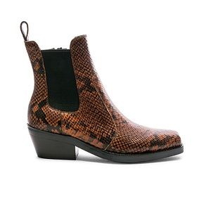Poker bootie in brown and black snake